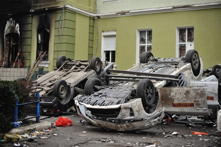 insurrection: Ternopil, UKRAINE - FEBRUARY 2014: Euromaidan. Revolution. Wrecked police car