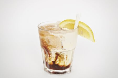 white russian: cocktail white russian isolated on the white background Stock Photo