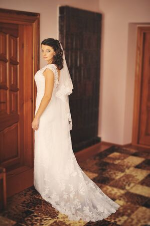 posed: Bride posed at her morning wedding day Stock Photo