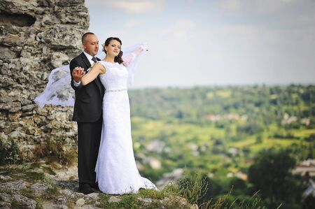 scenic landscape: Wedding  adult couple at the scenic landscape