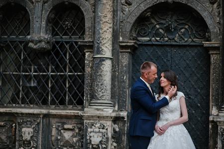 couple background: wedding couple background old oratory Stock Photo