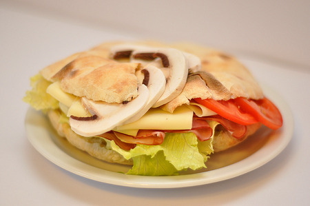 ch: sendvіch with cheese and champignons isolated in white