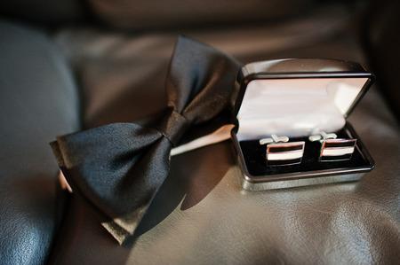 cuff links: elegance black bow tie with box cuff links