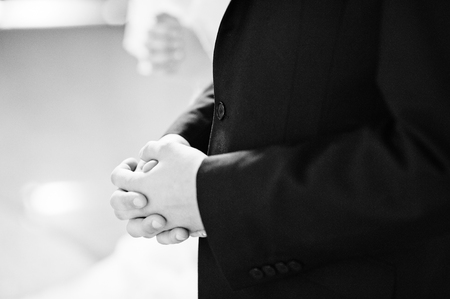 catholic mass: christian wedding couple at catholic church