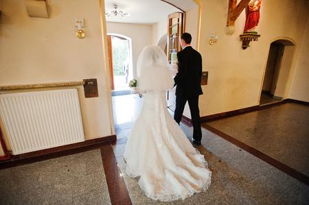 christian marriage: christian wedding couple at catholic church