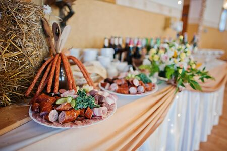wedding restaurant and  decorated banquet table Stock Photo