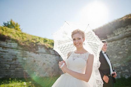 fascinating: fascinating  wedding couple on sunshine