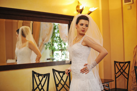 posed: Young brunette bride posed background the mirror Stock Photo