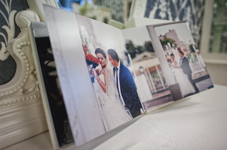 the photo: white classic leather photo book and album Stock Photo