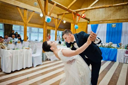couple dancing: First wedding dance of newlyweds