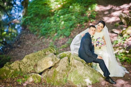 gorgeus: Gorgeus wedding couple on green sunny forest on stones