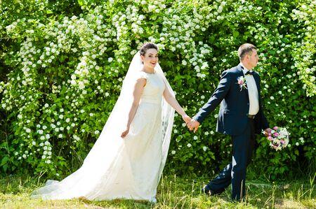 gorgeus: Gorgeus wedding couple on green sunny forest Stock Photo