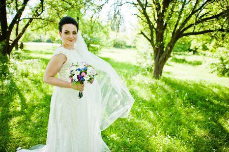 gorgeus: Gorgeus brunette bride outdoors