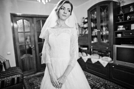 gentle: Close up portrait of gentle bride Stock Photo