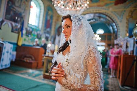 kerchief: Bride in kerchief at church