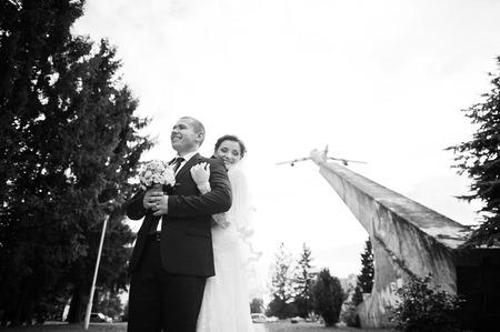 couple background: wedding couple background plane on airport Stock Photo