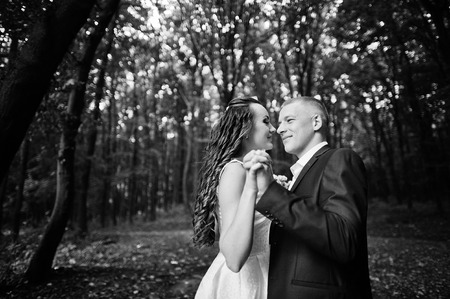 dense forest: Couple in love at the dense forest Stock Photo