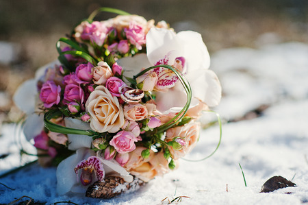 winter wedding: wedding bouquet at the winter day Stock Photo