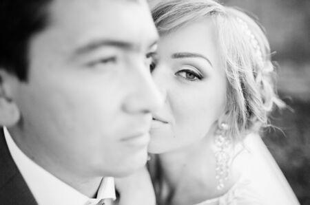 pompous: close up portrait of wedding couple Stock Photo