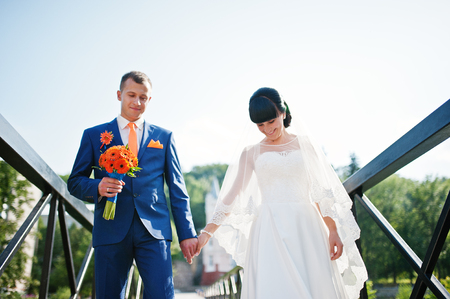 metall: wedding couple at the metall bridge Stock Photo