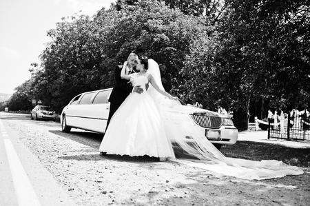 smooch: wedding couple background limousine