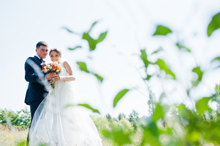 smiled: happy and smiled bride with groom