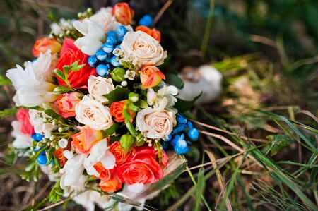 concretion: wedding bouquet with rings at pine forest Stock Photo