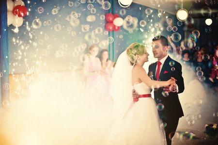 dance floor: Wedding dance with smoke and bubbles