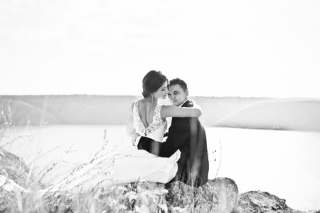 gorgeus: Very sensual and gorgeus wedding couple on the picturesque landscapes
