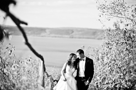 love life: Very sensual and gorgeus wedding couple on the picturesque landscapes
