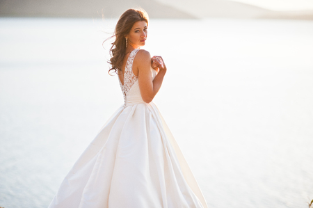 gorgeus: Very sensual and gorgeus bride on the picturesque landscapes