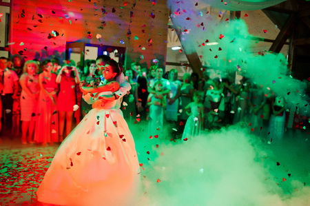 Wedding dance in restaurant with varioius lights and smoke 版權商用圖片 - 48368064