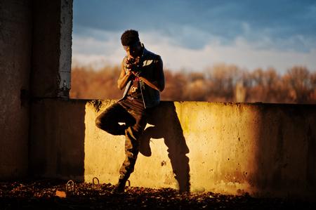 rapping: Black afroamerican man gangsta rap singer