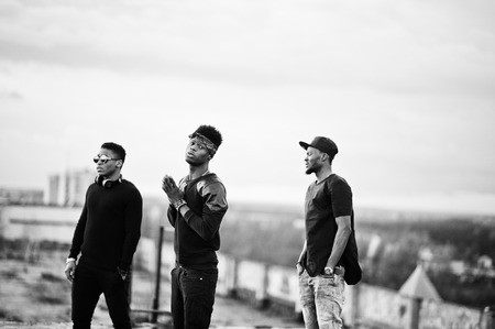 rap: Three rap singers band on the roof Stock Photo