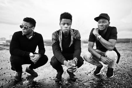 Three rap singers band on the roof Foto de archivo