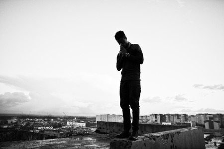 Portrait of  style black man on the roof Stock Photo - 48984214