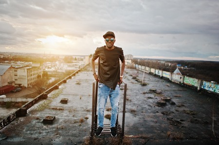 male model: Portrait of  style black man on the roof
