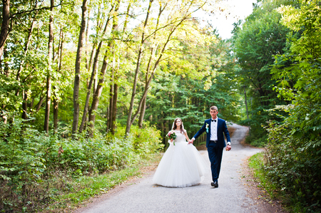 outdoor wedding: Young lovely wedding couple at the wood