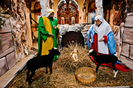 lamb of god: Very large christmas nativity crib. Jesus in the manger. Holy family Stock Photo