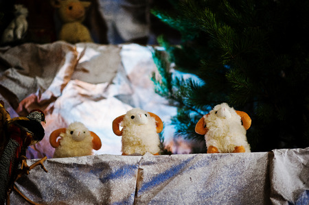 lamb of god: Very large christmas nativity crib. Toy sheep