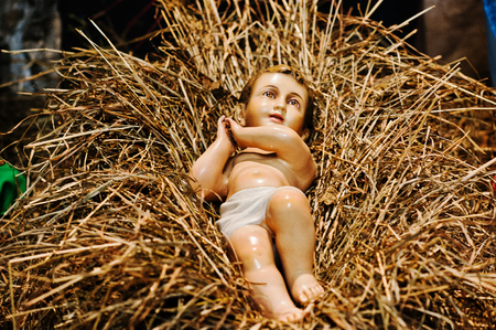 mary and jesus: Very large christmas nativity crib. Jesus in the manger