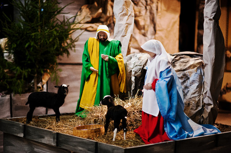 crib jesus: Very large christmas nativity crib. Jesus in the manger. Holy family Stock Photo