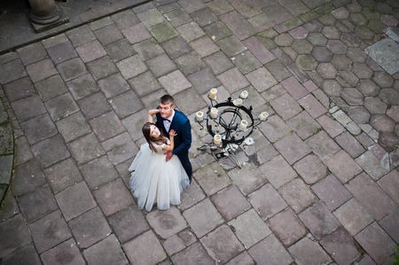 Wedding couple. Photo from quad copter drone view Standard-Bild