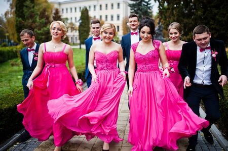 Four groomsmen and four bridesmaids having fun, stylish friends at wedding