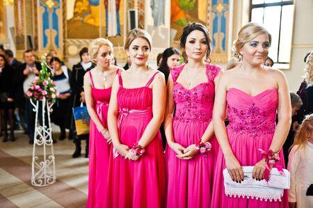 debutante: Stylish  bridesmaids at the church