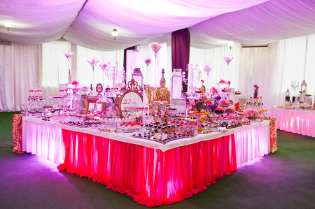set up: Awesome wedding reception of food and drink with various pink light