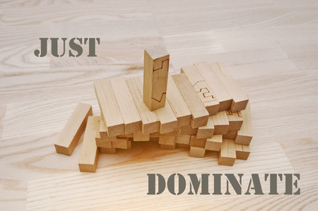 to dominate: Wooden block with slogan dominate