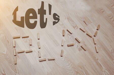 letterpress words: Let us play words in vintage wood letterpress  blocks Stock Photo