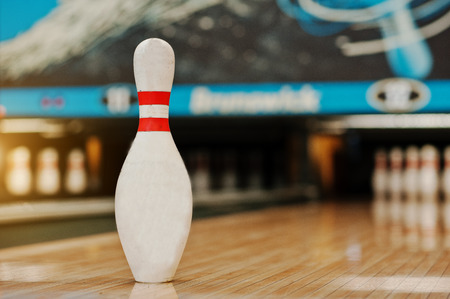 One bowling pin background bowling lane