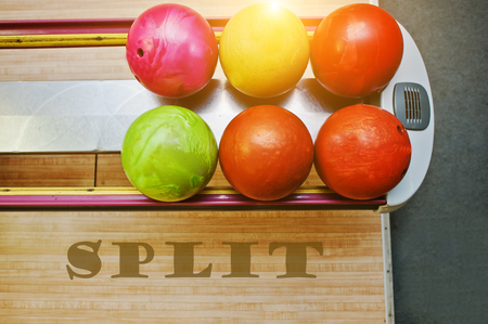 alleys: The word split background bowling balls